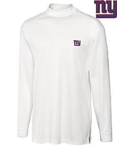 New York Giants Mock Turtleneck Mens Drytec Imperial Mock White by Cutter & Buck