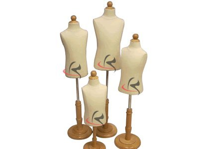 (Jf-C Group Of 4 Units) Child Body Forms, White Jersey Form Cover, W/ Wooden Base, 4 Pcs. Jf-C06M Jf-C1T Years Old Jf-C2T Years Old Jf-C3-4T Years Old