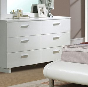 Elegant Bedroom Dresser with Storage Drawers in White by Poundex