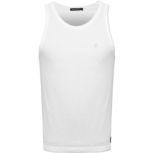 French Connection Mens White 56K9P Vest Embroidered Logo 100% Cotton FCUK White Medium