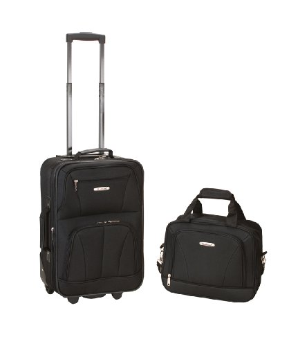 Rockland Luggage 2 Piece Printed Luggage Set, Black, Medium image