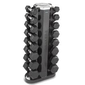 Hampton Urethane Dura-Bell Dumbbell 8 Pair Studio Club Pack with Rack