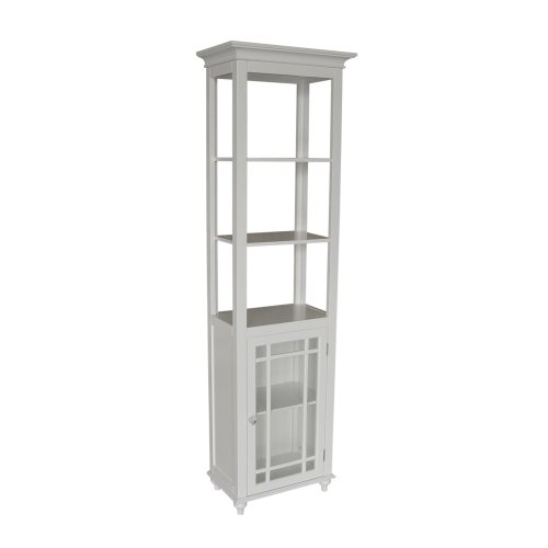 Elegant Home Fashions Neal Collection Shelved Linen Tower, White