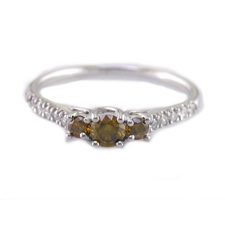 1/2 CT 3 Stone Red & White Diamond Ring in 14K White Gold In Size O