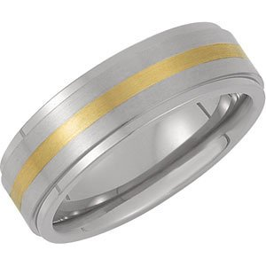 7.0mm Titanium Band with 14K Yellow Gold Inlay: Size 11