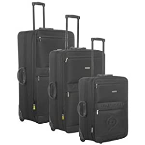 Dunlop Wheeled Suitcases 3 Piece Set Black 3pc Nest