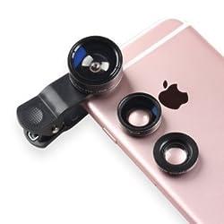 Mothca Phone Camera Lens Clip on 3 in 1 198 Degree Fisheye Lens + 0.63X Wide Angle Lens + 15X Macro Lens Smart Phone Tablets Lens Kit for iPhone 5 SE 6 6s Plus , iPad, Samsung Galaxy S7 Edge (Black)
