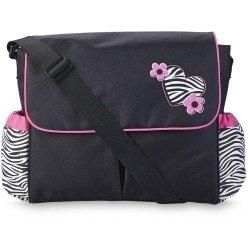 Tender Kisses Messenger Diaper Bag Zebra Print Heart