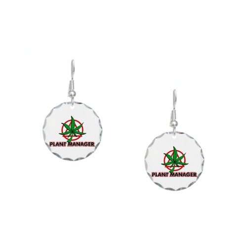Earring Circle Charm Marijuana Plant Manager