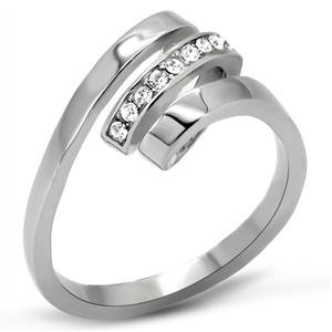 RIGHT HAND RING - High Polished Stainless Steel Twisted Style Ring with Clear Round Cut Crystal