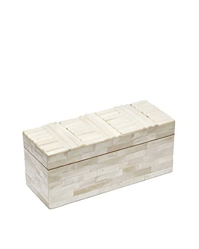 Purva Large Crosshatch Bone Jewelry Box, White