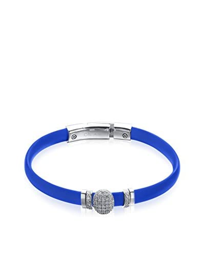 Alberto Moore Blue Silicone Bracelet with CZ Slides