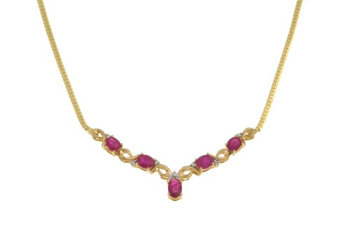 Ladies' Diamond and Ruby Necklace, Prong Set, 9ct Yellow Gold Herringbone Chain, 46cm Length, 0.04 Carat Diamond Weight, Model PNE1075 (DP0405/R