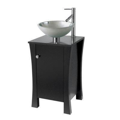 Pegasus PE714107 18-Inch Vessel Vanity with Black Granite Top, Espresso