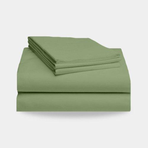 Split California King Bamboo Bed Sheet Set: 2 Fitted Sheets, 1 Flat Sheet, 4 King Pilow Cases (Sage Green) front-775642