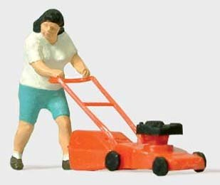 MOWING THE LAWN - PREISER HO SCALE MODEL TRAIN FIGURES 28085 (Preiser Figure compare prices)