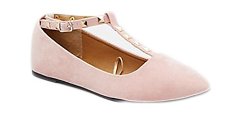 Charles Albert Women's Studded Accent T-Strap Pointed Toe Ballet Flats (7, Nude)
