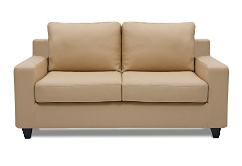 Dolphin Oxford Leatherette 2 Seater Sofa Set-Beige