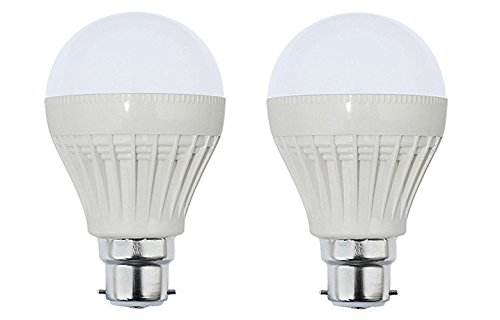 12W B22 Plastic Body White LED Bulb (Pack of 2)