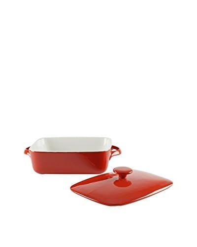 10 Strawberry Street Sienna Rectangular Bakeware With Lid, Red/White