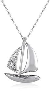 "10k White Gold Mini Sailboat and Diamond Pendant Necklace , 18"""