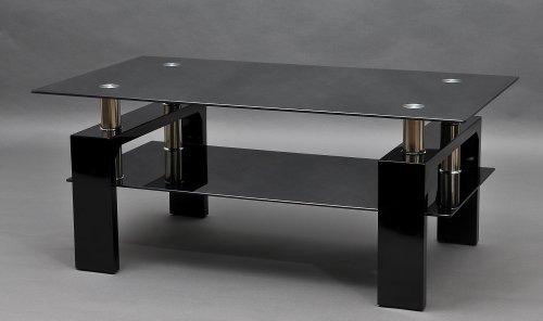 Couchtisch-Diana-XLS-Hochglanz-schwarzes-Gestell-mit-Schwarzglas