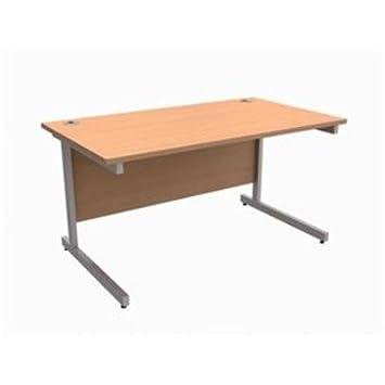 416378–Trexus Bureau rectangulaire avec pieds en hêtre W1400xD800xH725mm Argent