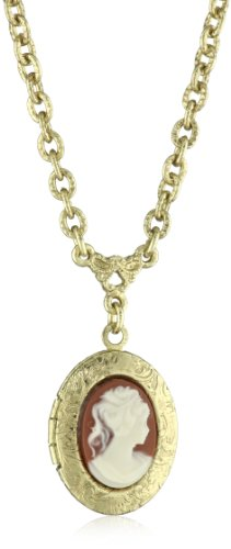 1928 Jewelry Brass Faux Carnelian Cameo Pendant Necklace