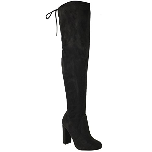 ROF-Womens-Thigh-High-Over-The-Knee-Block-Chunky-Heel-Pointy-Round-Toe-Boots