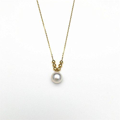 18k yellow gold japanese akoya pearl necklace white round pearl 18k yellow gold japanese akoya pearl necklace white round pearl pendant necklace with 6 little gold balls aloadofball Gallery