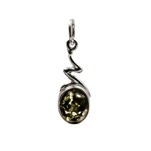 Green Amber Sterling Silver Oval Small Pendant
