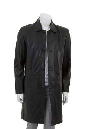 Mens Longueur Veste en cuir - Lorenzo / Noir