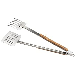 Outset QV57 Verde Multipurpose Stainless-Steel Claw-Style Barbecue Tongs with Bamboo Handles