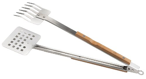 New Outset QV57 Verde Multipurpose Stainless-Steel Claw-Style Barbecue Tongs with Bamboo Handles