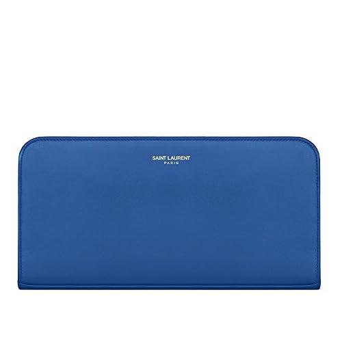 (サンローランパリ) Saint Laurent Large Classic Saint Laurent PARIS Zip Around Wallet In Royal Blue,Dark Magenta,Red,Fuchsia,Blush Leather (並行輸入品) LASTERR (Royal Blue)