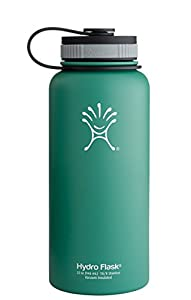 Hydro Flask Insulated Wide Mouth Stainless Steel Water Bottle, Green Zen, 32-Ounce