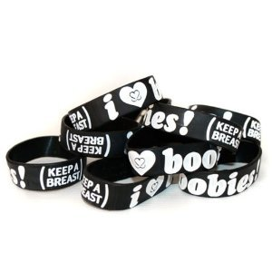 Keep-A-Breast 1 Inch I Love Boobies Bracelet Black/White