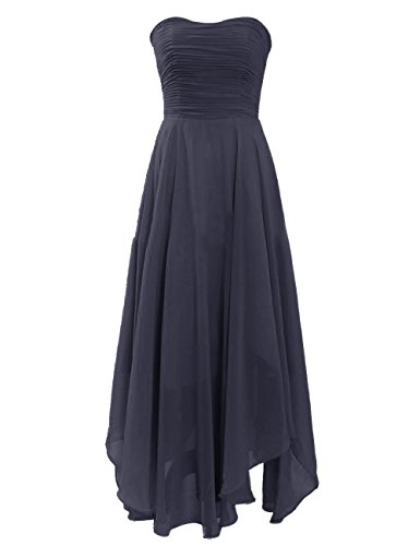 Medon'S Sweetheart Elegant Zipper Chiffon Tea-Length Prom Dress (Us8, Navy)