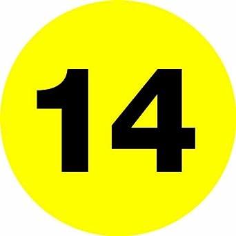 """Número DL6766 Círculo de etiquetas, la leyenda """"14"""", 1 """"de diámetro"""