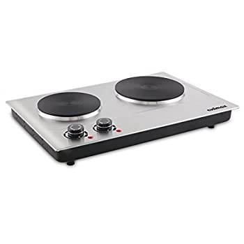 Cusimax 1800W Double Hot Plate , Stainless Countertop Burner, Silver Portable Electric Cooktop, CMHP-C180