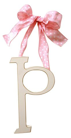 New Arrivals Wooden Letter P with Pink Polka Dot Ribbon, Cream