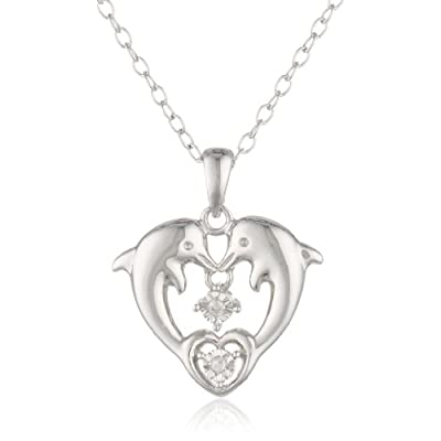 "DiAura Sterling Silver Diamond-Accent Heart Dolphins Pendant Necklace, 18"": Dolphin Jewelry For Women: Jewelry"