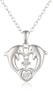 DiAura Sterling Silver Diamond-Accent Heart Dolphins Pendant Necklace, 18""