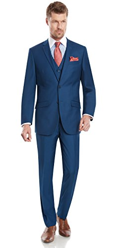 Mens Slim Fit Notched Lapel 2 Button 3 Piece Suit Set Designed by Taheri ,French Blue 80/20 ,US 40R / EU 50R / Waist 34 (Men Blue Suit compare prices)