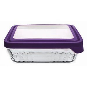 Anchor Hocking TrueSeal Glass Storage Container - Rectangular - 6 cups - Purple