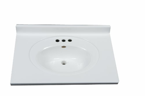 Imperial FRC3122SPW Bathroom Vanity Top with Recessed Center Oval Bowl, Solid White Gloss Finish, 31-Inch Wide by 22-Inch Deep