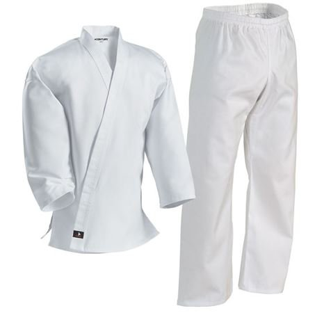Century Karate Martial Arts Uniform with Belt Light Weight White Cotton Elastic Waistband & Drawstring for Adult & Children Size 000 - 7 (Size 0 55-70lb 3ft 10in - 4ft 3in) (Kids Karate Uniform compare prices)