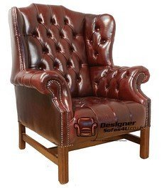 Chesterfield Churchill High Back Wing Chair UK Manufactured Old English Burgandy