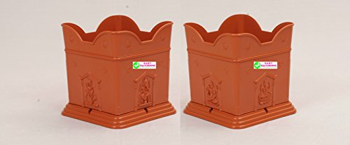 "Easy Gardening 10"" Tulasi / Tulsi Pot (Big) Terracotta Color Planter-Pack Of 2"