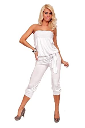 damen jumpsuit overall einteiler hosenanzug bandeau capri 3 4 hose weiss. Black Bedroom Furniture Sets. Home Design Ideas